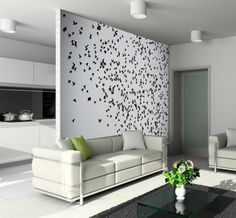 Черно-белые фотообои выступают акцентом в интерьере