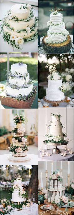 20 Greenery Wedding Cakes That Are Naturally Gorgeous - Wedding Foods - Hochzeit Pretty Wedding Cakes, Floral Wedding Cakes, Wedding Cake Rustic, Beautiful Wedding Cakes, Wedding Cake Designs, Wedding Cake Toppers, Perfect Wedding, Cake Wedding, Boho Wedding