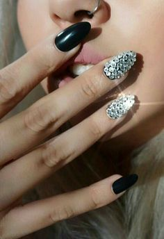 Bling and black nails