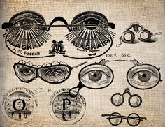 Antique Eyeglasses Optics Eye Goggles Steampunk Illustration  Digital Download for Papercrafts, Transfer, Pillows, etc no 1365. $1.00, via Etsy.