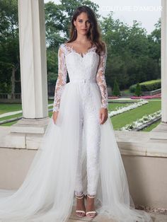 654cf354709a Long Sleeve Wedding Jumpsuit with Train by Mary s Bridal MB4008 Pantsuit Wedding  Dress