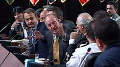 Juan Carlos I, Rey de España, manda callar a Hugo Chavez, Presidente de Venezuela, ante José Luis Rodríguez Zapatero (Presidente de España), Evo Morales (Bolivia) al fondo. 10 Noviembre de 2007.