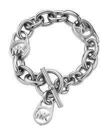 Michael Kors Logo-Lock Charm Bracelet, Silver; simple and cute