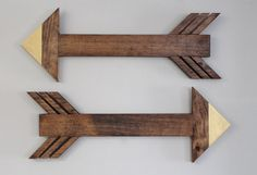 Wooden Arrow Sign Decor  Gold Dipped  Set of 2 by MakingItCo