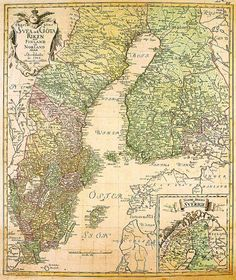 The Swedish rule ends in A map from 1747 History Of Finland, Norway Map, History Timeline, Old Maps, Historical Maps, Historian, Continents, Geography, Sweden