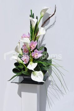 Almada - MODERN ARTIFICIAL CALLA LILY, ANTHURIUM AND FRESH TOUCH CYMBIDIUM ORCHID FLORAL DISPLAY