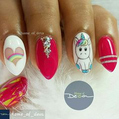 CUTE! #Unicorns #UniqueNailArt #freehandnailart #nailtechnails #nailtechnician #nails#nailsalons #nailartdesigns