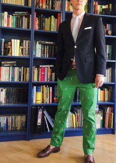 Happy Preppy (Prep Green, pink, navy blazer and seersucker. Preppy Outfits, Preppy Fashion, Mens Fashion, Fashion Outfits, Preppy Men, Preppy Style, Ivy Style, Cool Style, Tweed Jacket