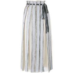 PROENZA SCHOULER Panelled Silk Skirt (£293) ❤ liked on Polyvore featuring skirts, bottoms, saias, faldas, pleated skirt, knee length pleated skirt, silk skirt, proenza schouler skirt and mid length skirts