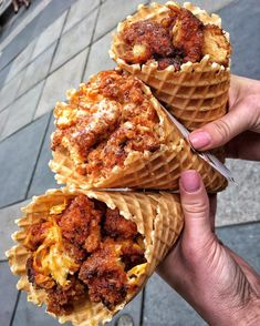 Yella BBQ, Kick'n Ranch & Cinna-maple Fried Chicken Waffle Cones! Think Food, I Love Food, Good Food, Yummy Food, Yummy Yummy, Chicken And Waffles, Food Goals, Aesthetic Food, Food Cravings