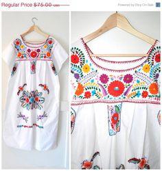 boho OAXACAN festival dress / 80s vintage FLORAL door onefortynine