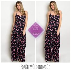"""Welllll... I'm totally saving one of these beauties for myself!! It's so flipping adorable, and nice and comfy too!! Perfect for that summer party, or date night even!!    Small fits up to size 6!    Medium fits up to size 10!    Large fits up to size 14!    Size Small is 59"""" with adjustable straps. Nice and roomy through bust and hips too!    $28.00 with FREE SHIPPING in the USA!!! International rates will apply.Ships in 2-4business days! 
