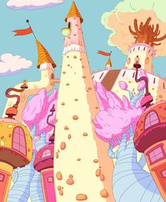 Dan Bandit aka GHOSTSHRIMP created and designed the world for Adventure Time, here are the background designs forthe Candy Kingdom. Cartoon Background, Animation Background, Cartoon Network Adventure Time, Adventure Time Anime, Adventure Time Background, Cartoon Network Tv, Land Of Ooo, Finn The Human, Jake The Dogs
