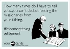 Mormon funny, Tithing deduction. LDS humor.