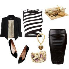 #black #white #gold #Stripped #Wrap-Style #Knit #Top #Short #Crop #Big #Shoulder #Jacket # black #pencil #skirt #suede #flats #vintage #jewllery