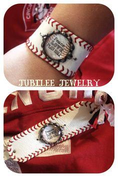 Peace Love Play Ball custom baseball cuff bracelet . $36.00, via Etsy.