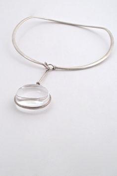 Vivianna Torun for Georg Jensen, Denmark - classic large 'Dew Drop' neck ring & pendant #Denmark #Georg-Jensen #necklace