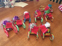 Kit Kat Santa Sleigh with Nice List.  Great friend and neighbor gifts