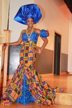 Kente print, wedding dress