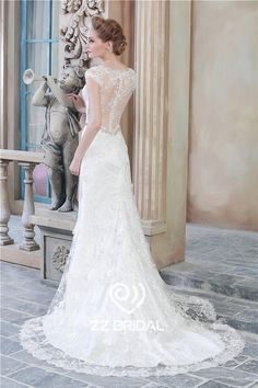 Hot-online-v-neck-see-through-back-cap-sleeve-lace-bottom-mermaid-wedding-dress.jpg (600×900)