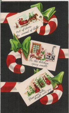 Vtg 1950s Used SUNSHINE Christmas Card Candy Cane Vignette Scenes Horse & Sleigh