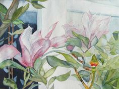 Flowers in front of the window (c)  #watercolor with magnolia by Frank Koebsch, 30 x 40 cm; $285; if you feel interested in how the picture is created, use this link http://frankkoebsch.wordpress.com/2011/04/09/suche-nach-dem-fruhling-in-meinem-aquarellbildern-8/