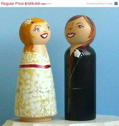 "20% OFF Sale - Same Sex Wedding Cake Toppers - Wooden Peg Dolls (3.5"") - Completely Custom. on Etsy, £62.40"