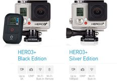 GoPro Hero 3 Plus Black And Silver Editions - Specs Differences http://coolpile.com/gadgets-magazine/gopro-hero3-improved-version-great-hero3-action-camera/  #CoolPile #Gadgets #Gear #Geek #Tech via @CoolPile.com.com  4K, Action Camera, Amazon.com, Cameras, Cool, GoPro, HD, Photo, Rechargeable, Remote Control, Ultra HD, Video Recorder, WiFi
