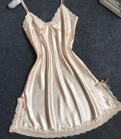 Senhoras Sexy Vestido De Noite de Cetim de Seda Sem Mangas Camisola de Decote Em V Plus Size Camisola Rendas Sleepwear Nightwear Nighties Para Mulheres
