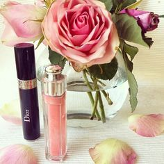 Let's make it a Dior kind of day! Credit: viennafashioncat #Diorvalley #Dior #Roses #BlushPink #Lipgloss #DiorBeauty