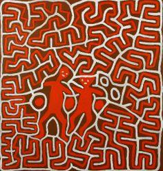 Jimmy Kurtnu Pike, Kurntumaru and Parnaparnti (Love Story), 1998, Synthetic polymer paint on canvas, 104 x 110 cm.