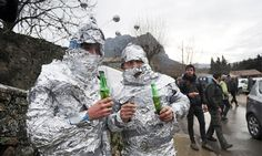 Men in tin foil appeared on the streets of the French village of Bugarach, one of the few places on Earth believed to be safe from the impending apocalypse. A nearby 'upside down mountain' is said to be filled with aliens via the guardian