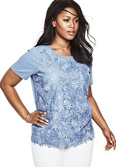47a63284030 Roamans Womens Plus Size Floral Applique Tee Ultramarine1X   You can find  more details by visiting