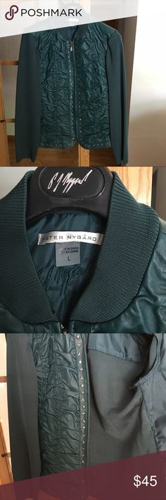 Peter Nygard Green leather jacket 100% leather green jacket in excellent condition. Peter Nygard Jackets & Coats