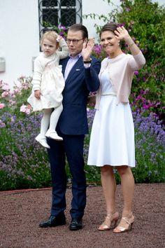 Princess Estelle of Sweden with her parents Prince Daniel, Duke of Vastergotland and Crown Princess Victoria of Sweden attend the Victoria Day celebrations, on the Crown Princess's 37th Birthday, at Solliden, 14.07.2014 in Oland, Sweden.