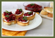 Cranberry Cream Cheese Crostini