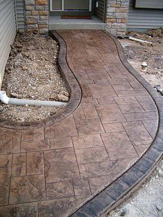 stamped concrete for patio/ darker so there is no glare Stamped Concrete Walkway, Stamped Concrete Patterns, Concrete Porch, Stained Concrete, Concrete Floors, Concrete Patios, Concrete Stamping, Concrete Pathway, Flagstone Path
