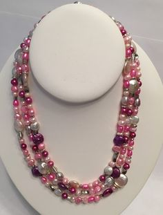 Three Strand Pearl Necklace by GrowlyHavenJewelry on Etsy