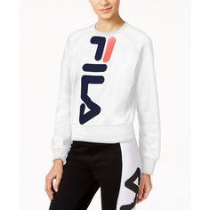 Fila Kristy Cropped Sweatshirt (€61) ❤ liked on Polyvore featuring tops, hoodies, sweatshirts, white, fila sweatshirt, crop top, white sweatshirt, white top and fila