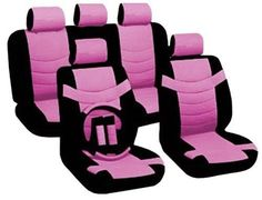 14PC-Premium-PU-Black-Pink-Car-Front-Rear-Seat-Covers-Steering-Wheel-Set-HS4