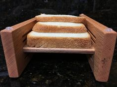 Horizontal three thickness bread slicing guide made out of Oak lumber with a food grade protective finish applied Oak Lumber, Lathe, Food Grade, Making Out, A Food, Mystery, How To Apply, Bread, Computer Case