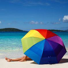 c4b06142a3ca Rainbow Beach Umbrella #UltimateBeachVacation Umbrella Painting, Rainbow  Colors, Relax, Spring Summer,