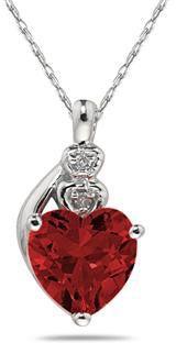 ApplesofGold.com - Garnet & Diamond Heart Pendant in 10K White Gold - Valentine's Day Jewelry Gift Romantic Ideas