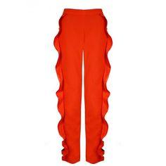 Juan Carlos Pajares Frill Cutout Trousers ($316) ❤ liked on Polyvore featuring pants, orange, orange pants, cocktail pants, red trousers, frilly pants and holiday pants