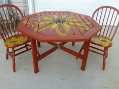 Outdoor colorful sunflower table and chairs.  Can't wait to enjoy a cup of tea tomorrow morning and watch the sun rise.