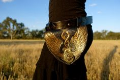 Valkyrie winged leather pocket belt/pouch/purse. Handmade. Azrael's Circus designs. https://www.facebook.com/azraelscircus