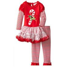 Autumn Girls Christmas Printing Clothing Sets Santa Claus Bow Long-sleeved Dress+Striped Pants Kids Clothes Lollipop Gauze Dress(China (Mainland))