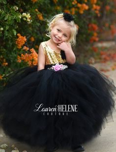 Anne' Luxury Flower Girl Dress • Black & Silver Sequin Haute Couture Ball Gown  • Party Dress