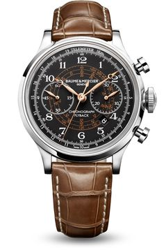 Discover the Capeland 10068 with automatic manufacture movement and flyback chronograph function, telemeter and tachymeter scales on the opaline black dial. Designed by Baume et Mercier, Swiss Watch Maker.