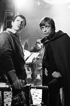 Mark Hamill and Richard Marquand on the set of Return of the Jedi